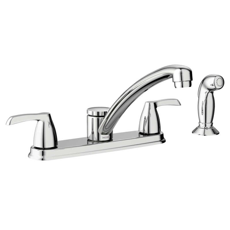 Moen  Adler  Two Handle  Chrome  Pulldown Kitchen Faucet  Side Sprayer Included