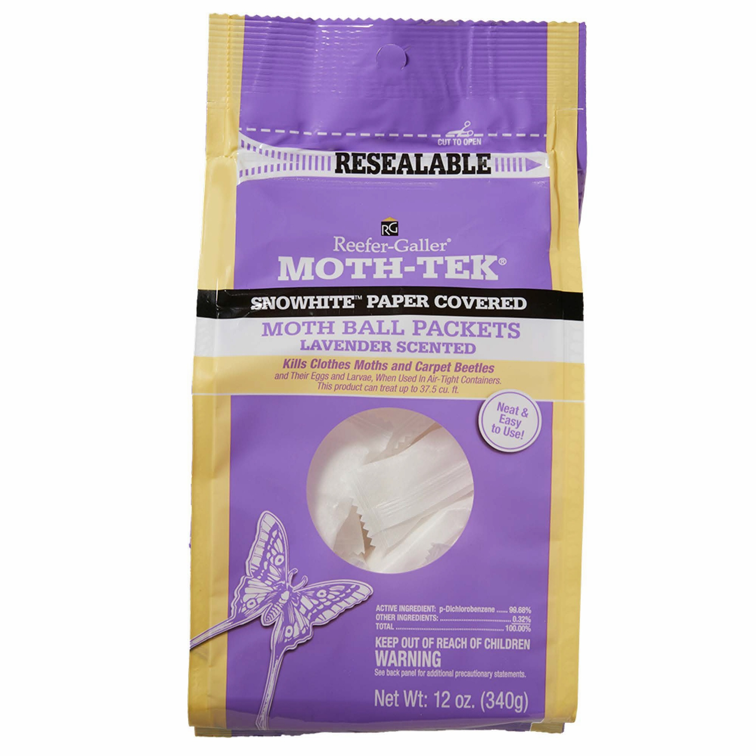 Reefer-Galler MOTH-TEK Moth Balls 12 oz. 12 Oz. lavender scented moth prevention, snow white paper covered, ideal for trunks, drawers, chests and clothing storage containers, protects clothing, blankets, leaves no lingering odor.