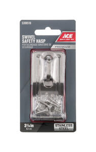 Ace  Stainless Steel  3-1/4 in. L Swivel Staple Safety Hasp