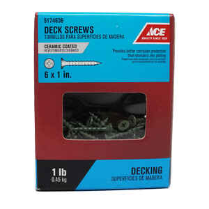 Ace  No. 6   x 1 in. L Phillips  Bugle Head Ceramic Coated  Steel  Deck Screws  1 lb. 343 pk