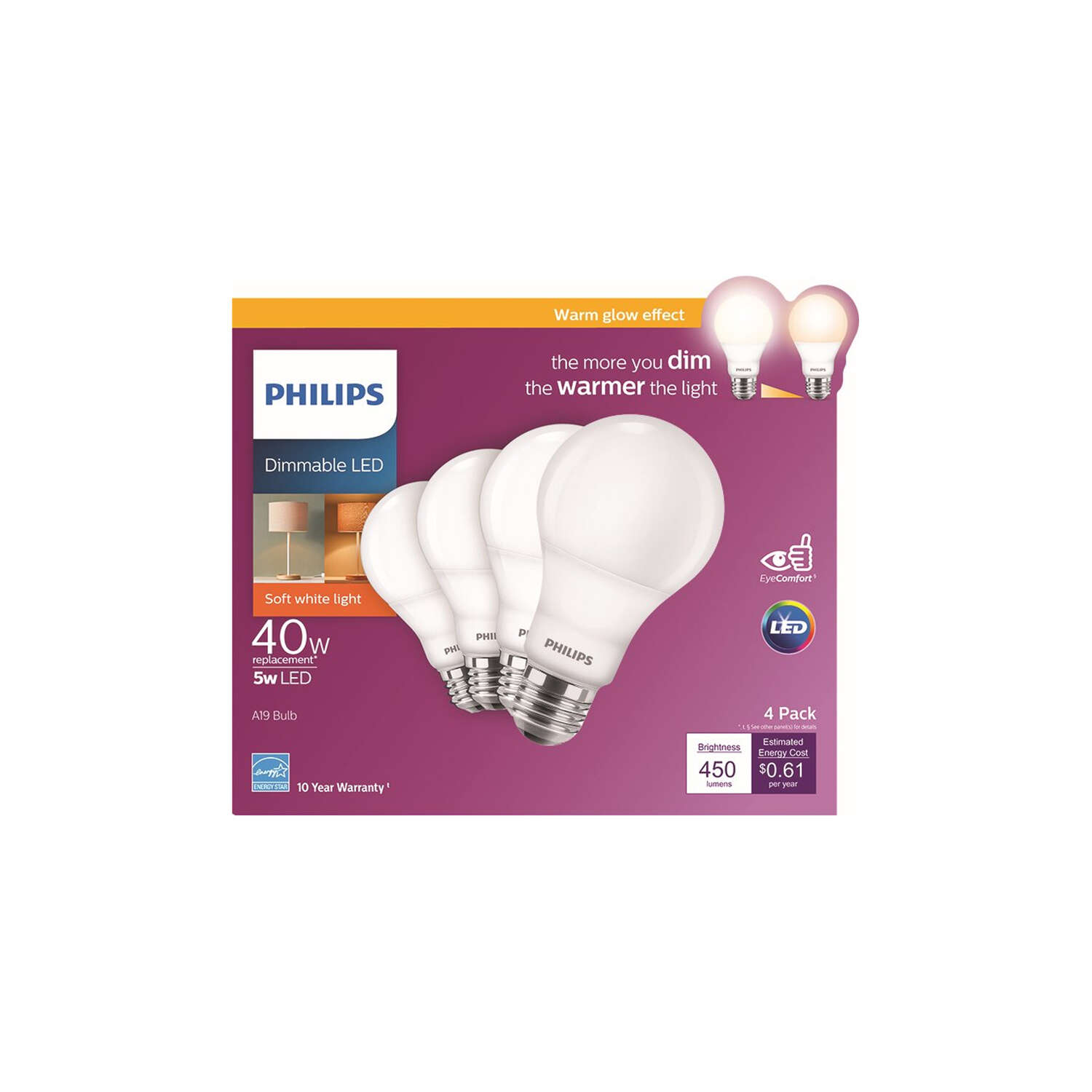 Philips  A19  E26 (Medium)  LED Bulb  Soft White  40 Watt Equivalence 4 pk