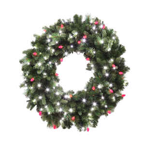 Celebrations  Prelit Green  LED Decorated Wreath  36 in. Dia. Pure White/Red