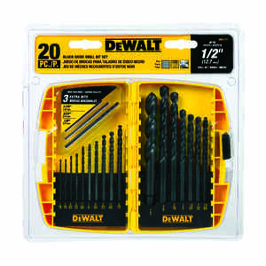 DeWalt  1/16 in. Dia. x Multi  L High Speed Steel  Drill Bit Set  Round Shank  20 pc.