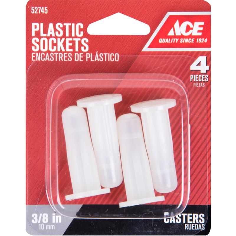Ace 1/2 in. Dia. Plastic Caster Socket 4 pk - Ace Hardware