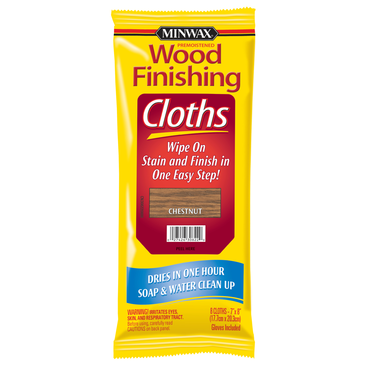 Minwax  Semi-Transparent  Chestnut  Water-Based  Acrylic  Wiping Stain and Finish  8 pk