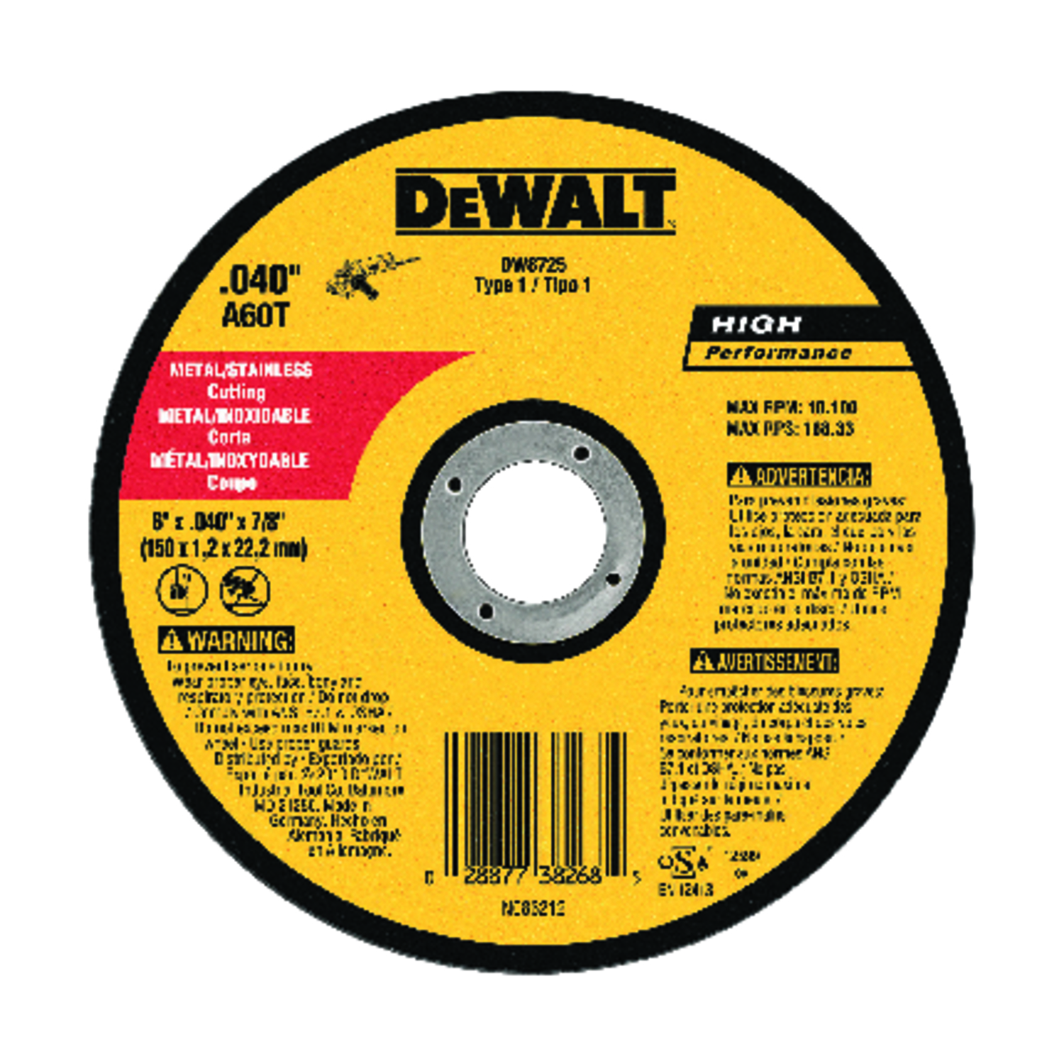 DeWalt  High Performance  6 in. 7/8 in. in.  Aluminum Oxide  Cut-Off Wheel  1 pc.