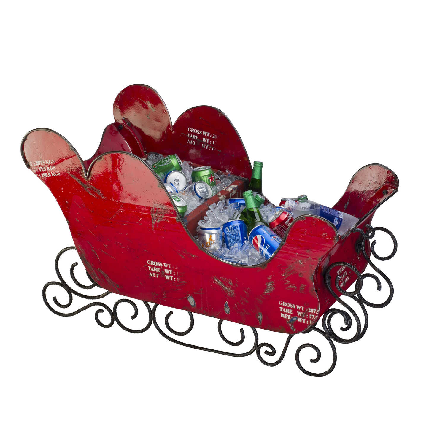 Think Outside  Sleigh  Christmas Decoration  Red  Metal  1 pk