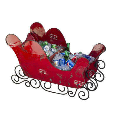 Think Outside  Sleigh  Christmas Decoration  Red  Metal  24.8  1 pk