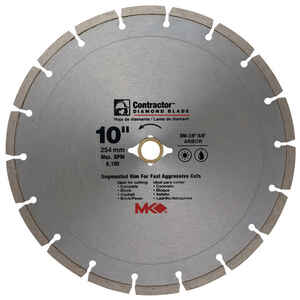 M.K. Diamond  10 in.  Diamond  Contractor  10  1 pk 7/8-5/8  Segmented Rim Circular Saw Blade