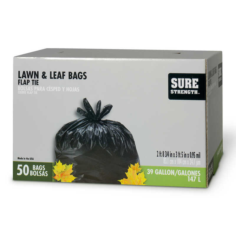 Sure Strength  39 gal. Lawn and Leaf Bags  Flap Tie  50 pk
