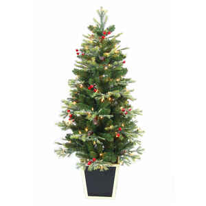 Greenfields  Clear  Prelit 4-1/2 ft. Whitehorse Berry  Artificial Tree  100 lights 718 tips