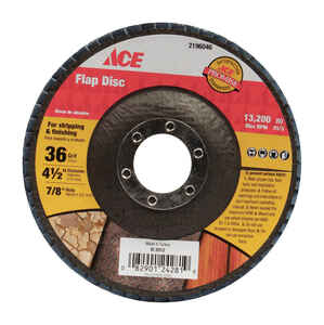 Ace  4-1/2 in. Dia. x 7/8 in.   Zirconia Aluminum Oxide  Flap Disc  36 Grit Coarse  1 pc.