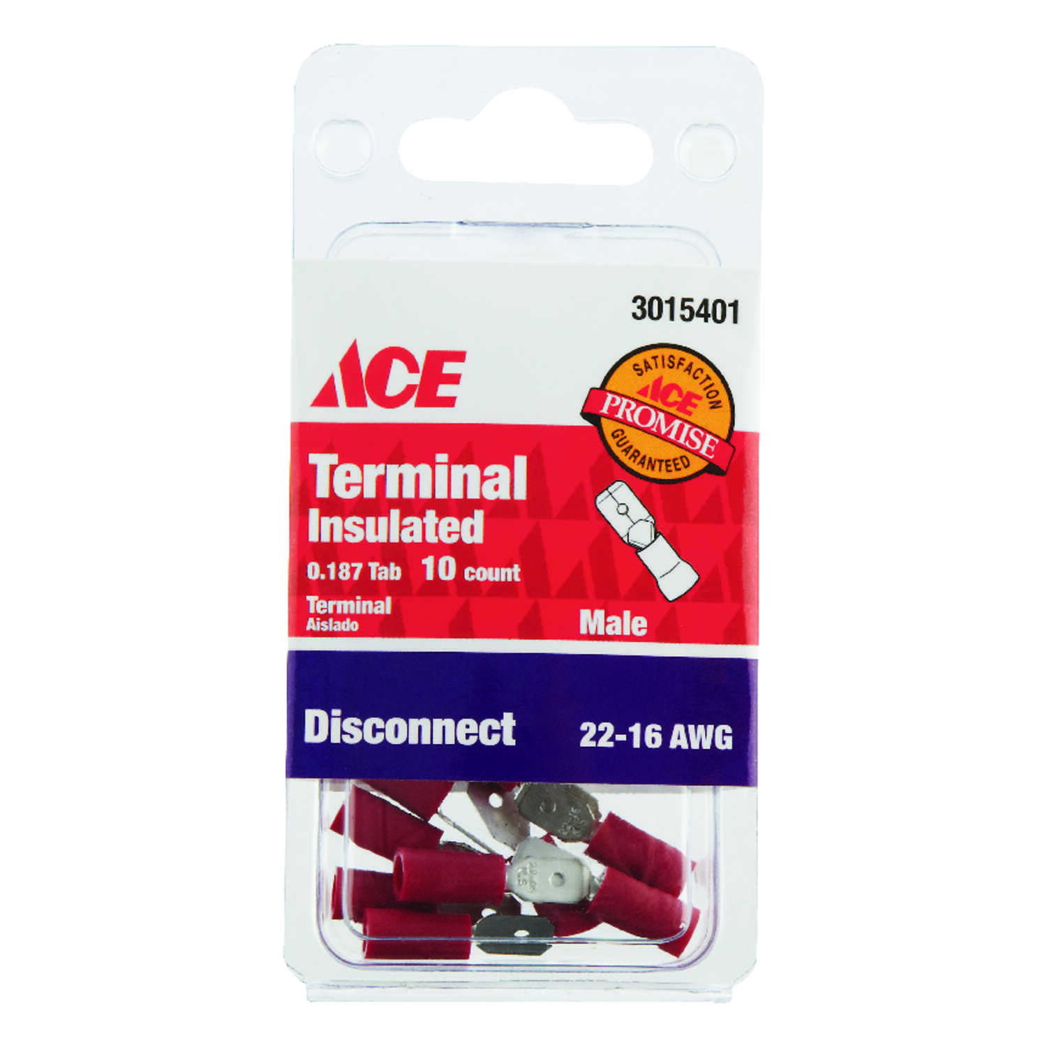 Ace  Male Disconnect  Red  10 pk