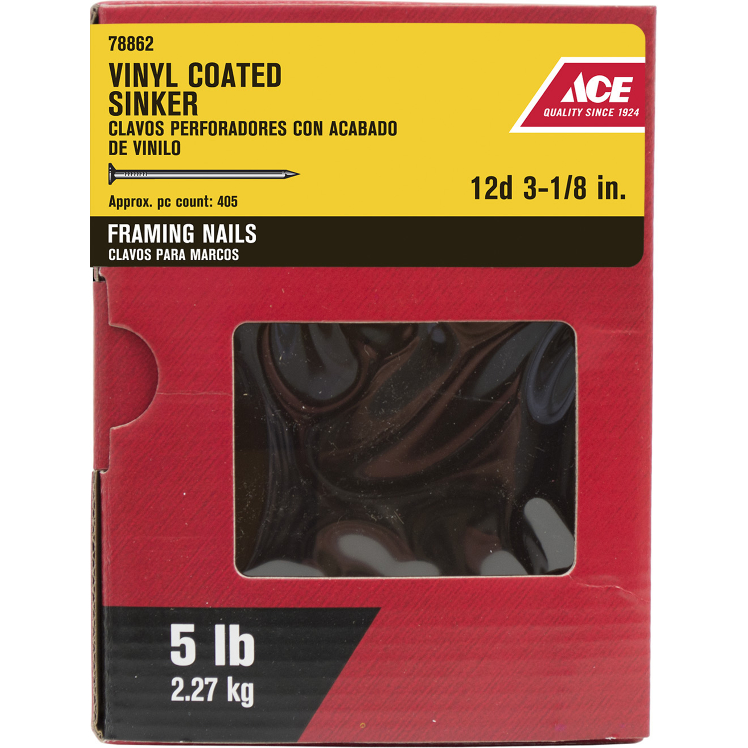 Ace  12D  3-1/8 in. L Sinker  Steel  Nail  Checkered Head Smooth Shank  405  5 lb.