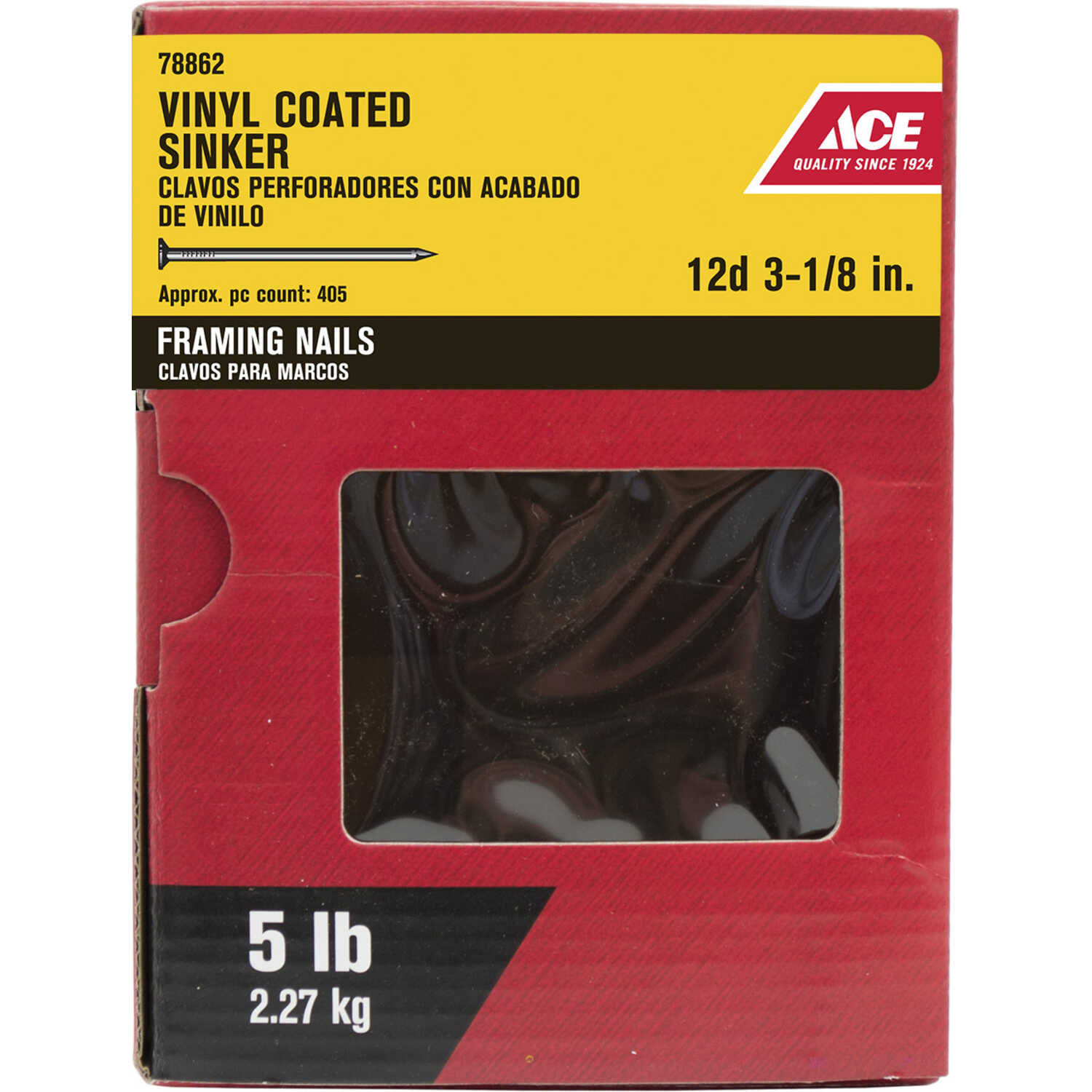 Ace  12D  3-1/8 in. L Sinker  Steel  Nail  Checkered Head Smooth Shank  405 pk 5 lb.