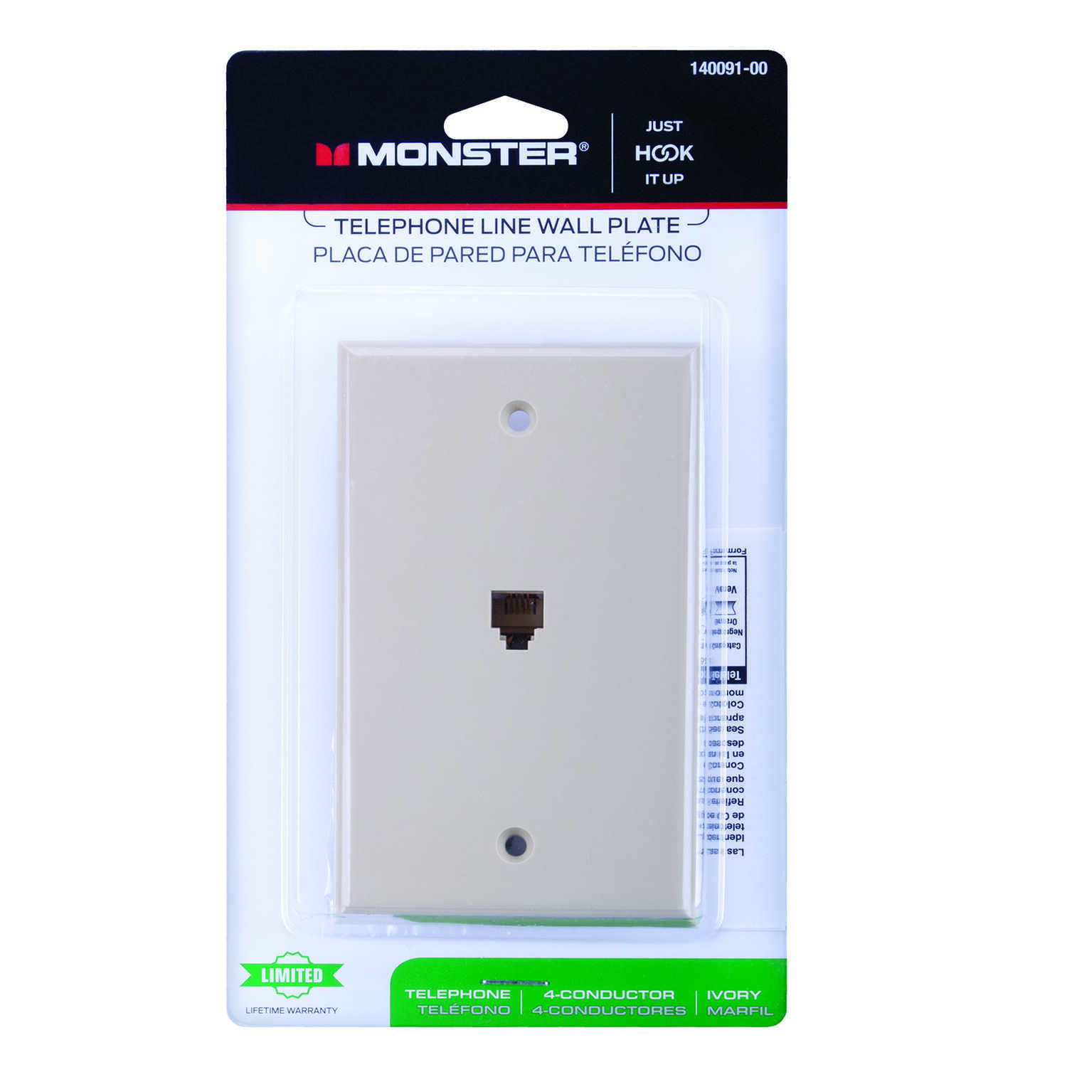 Monster Cable  Just Hook It Up  Ivory  1 gang Plastic  Telephone  Wall Plate  1 pk
