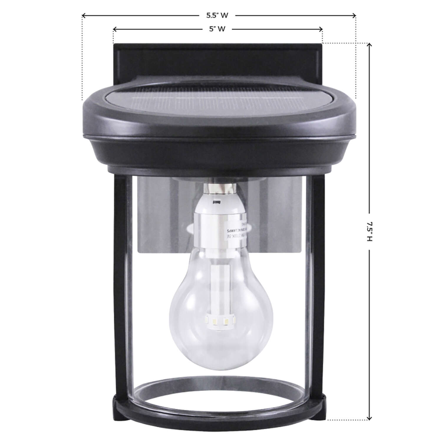 Gama Sonic  Solar Coach Lantern  Black  Dusk to Dawn  LED  Wall Lantern  Solar Powered
