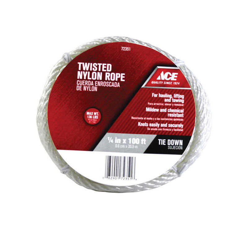Ace 1/4 in  Dia  x 100 ft  L White Twisted Nylon Rope - Ace Hardware