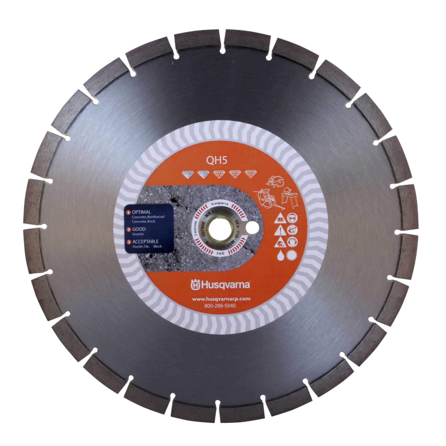 Husqvarna  12  Diamond  QH5  Segmented Rim Diamond Saw Blade  0.118 in. thick  1 in./20 mm  24 teeth