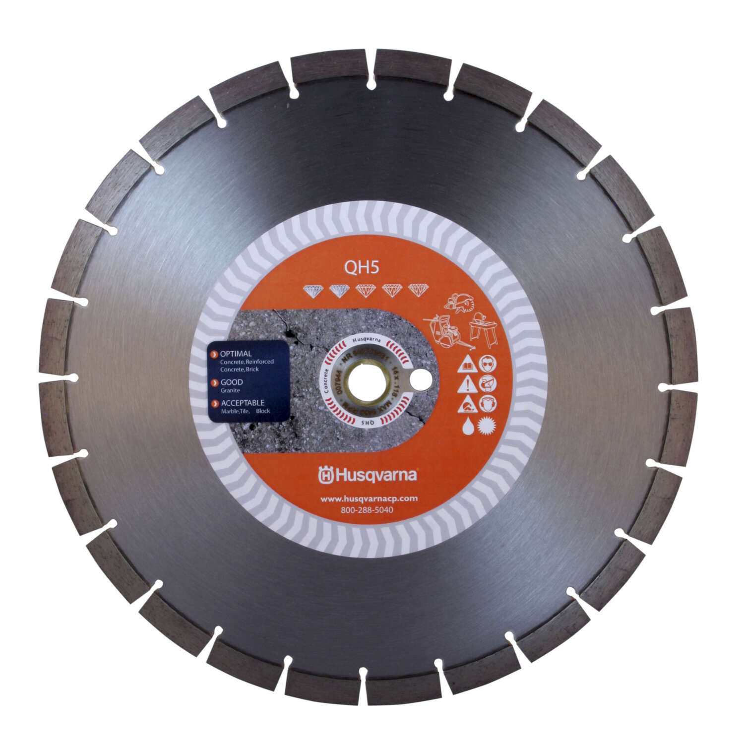 Husqvarna  12 in. Dia. x 1 in./20 mm   QH5  Diamond  Segmented Rim Diamond Saw Blade  24 teeth 1 pk