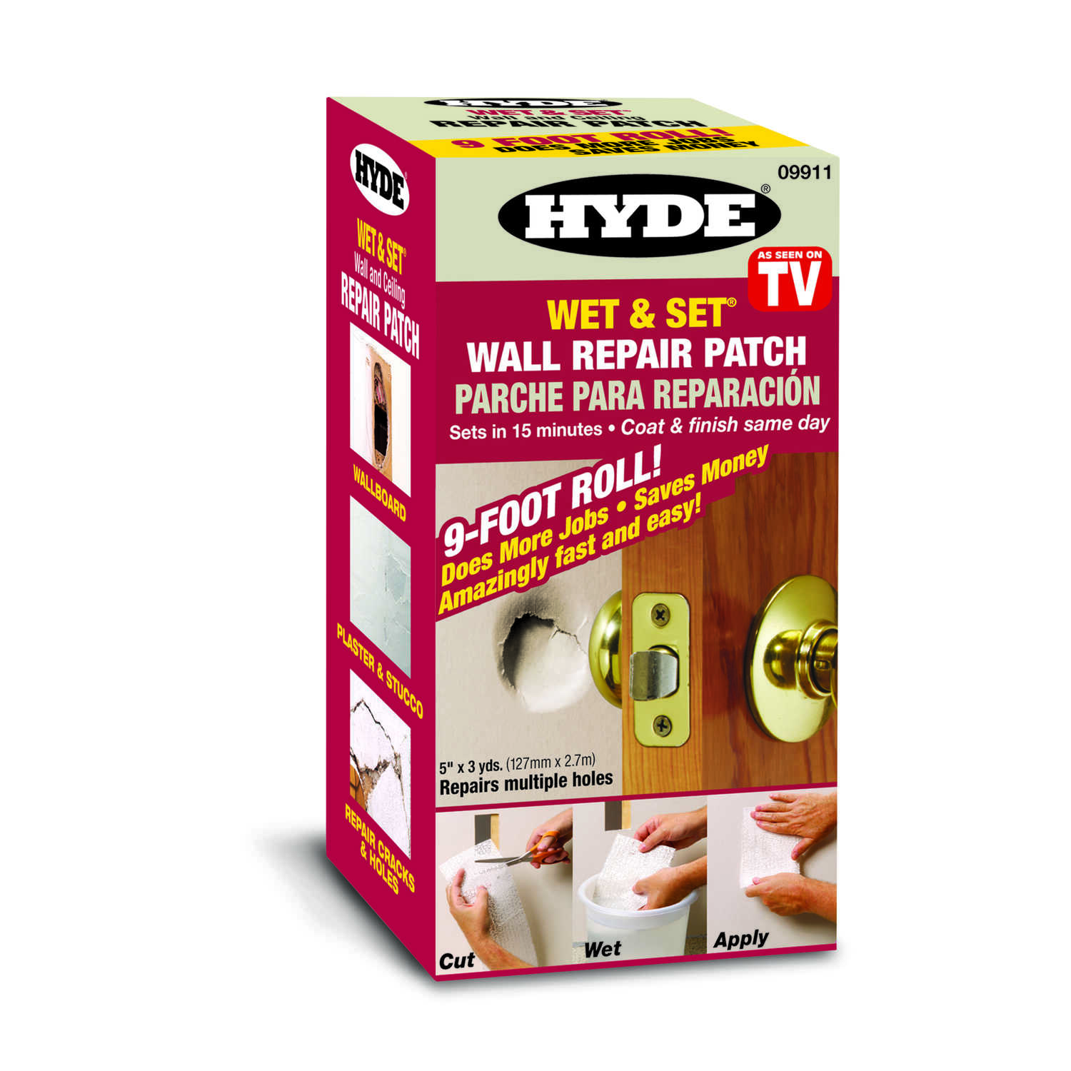 Hyde  9 ft. L x 5 in. W Composite  Wet & Set Wall and Ceiling Repair Patch  White