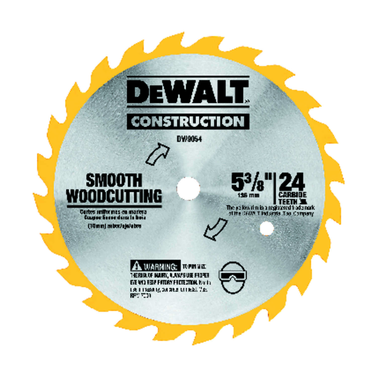 DeWalt  5-3/8 in. Dia. x 10 mm  Carbide Tipped  Construction  Circular Saw Blade  24 teeth 1 pk