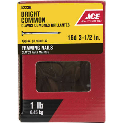 Ace  16D  3-1/2 in. Common  Bright  Steel  Nail  Round  1 lb.