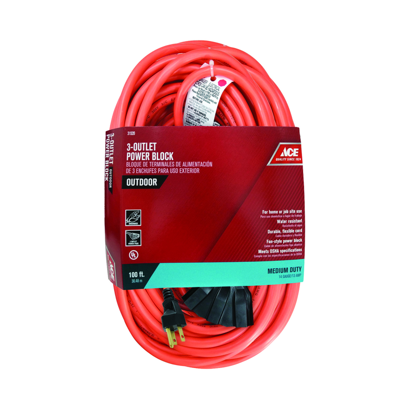Ace  100 ft. L Indoor and Outdoor  Triple Outlet Cord  14/3 SJTW  Orange