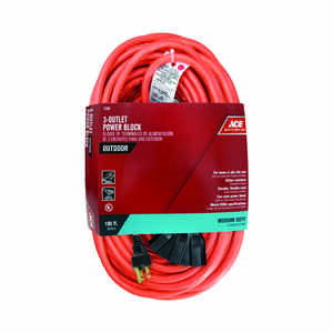 Ace  100 ft. L Orange  Triple Outlet Cord  14/3 SJTW  Indoor and Outdoor