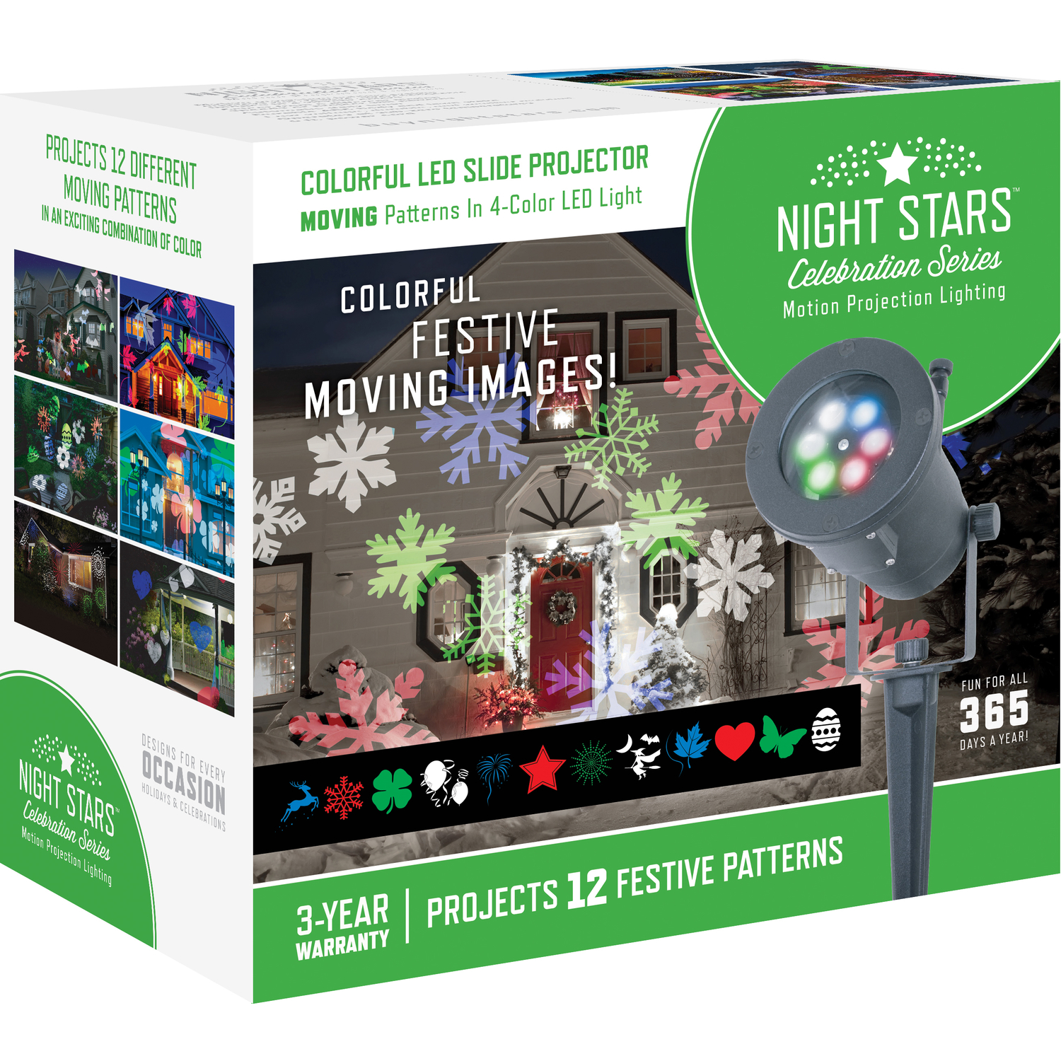 Night Stars Lightshow LED Holiday Images Motion Projector White 1 lights Black wire
