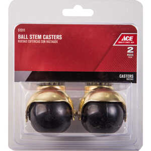 Ace  2 in. Dia. Swivel Hooded Ball Caster with Stem  80 lb. 2 pk