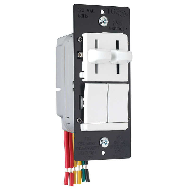 Pass & Seymour  Dual Control  White  300 watts Slide  Dimmer Switch  1 pk
