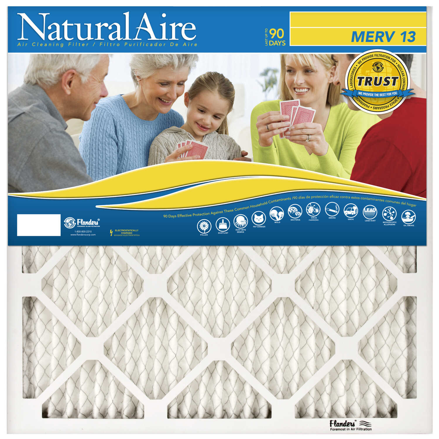 AAF Flanders  NaturalAire  14 in. W x 20 in. H x 1 in. D Polyester Synthetic  Pleated Air Filter