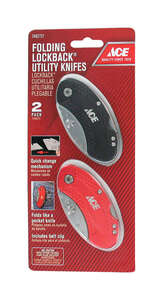 Ace  2-Pack Folding Lock-Back  0.2 in. Utility Knife  Black/Red