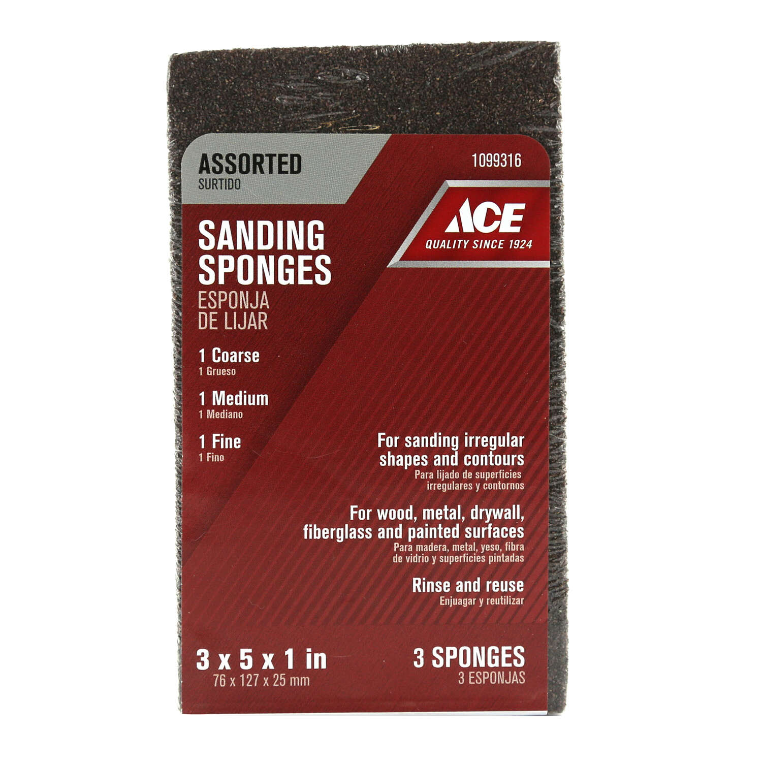 Ace  5 in. L 60/80/120 Grit Assorted  Extra Large  Sanding Sponge