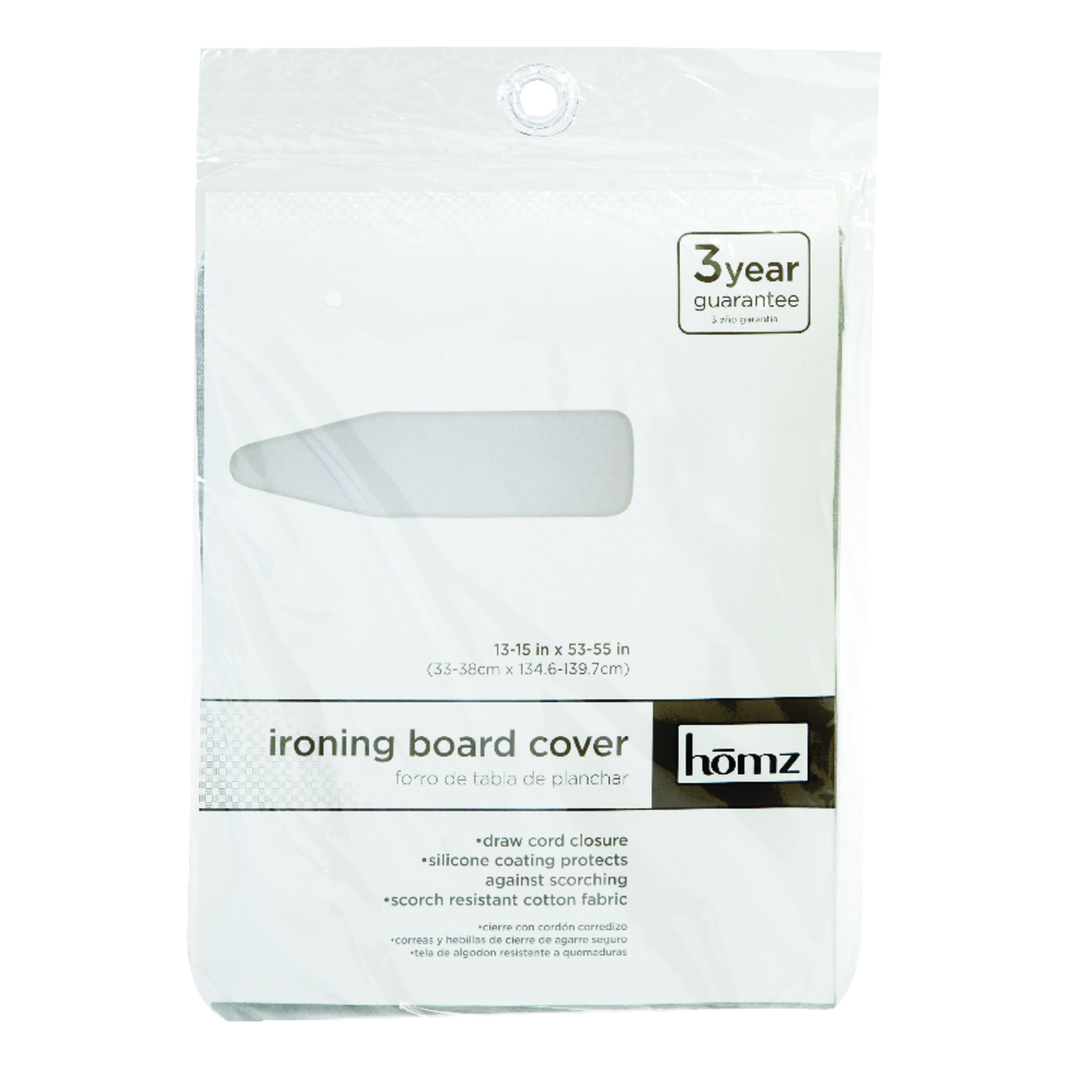 Homz  15 in. W x 55 in. L Cotton  Silver Silicone  Ironing Board Cover