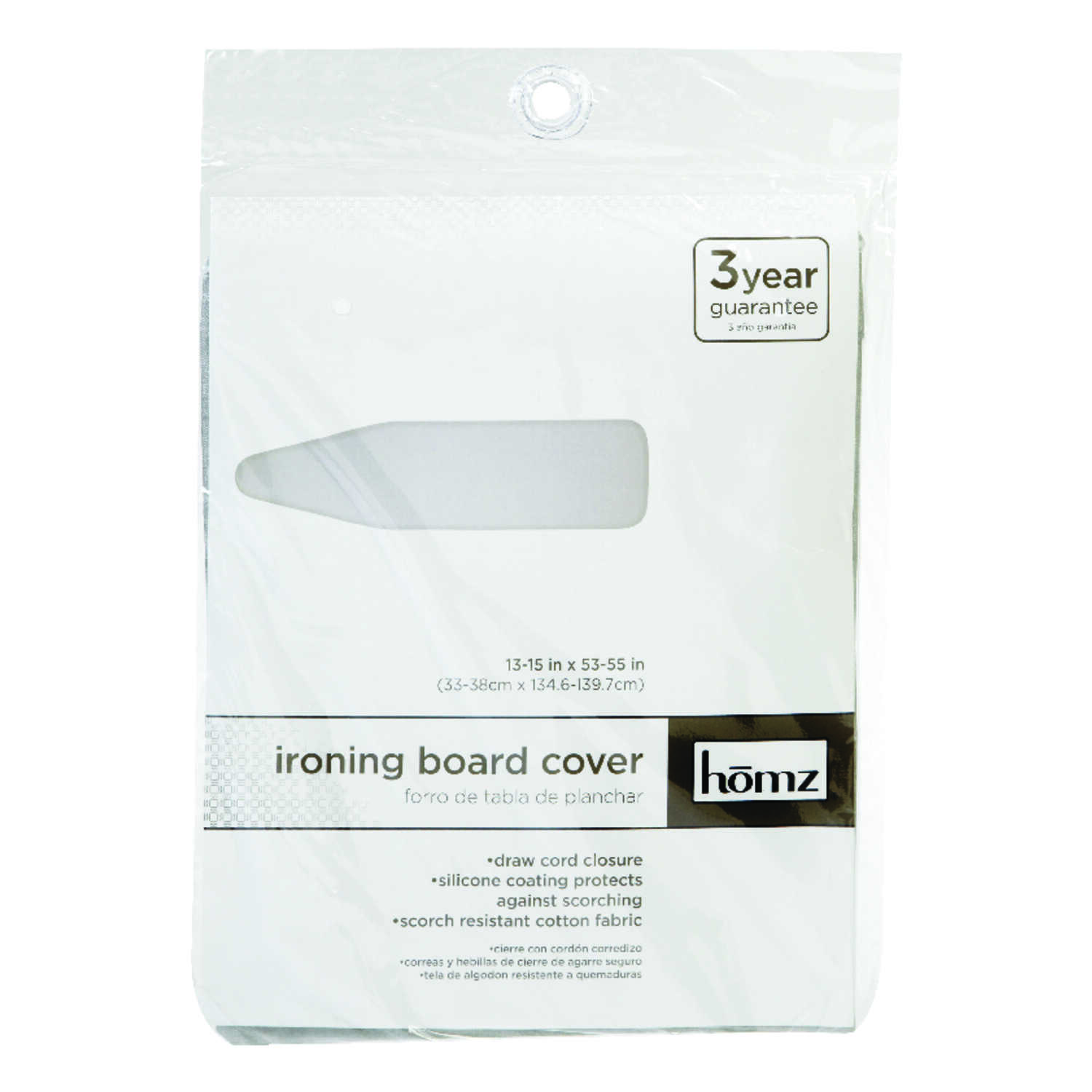Homz  15 in. W x 55 in. L Cotton  Silver  Ironing Board Cover