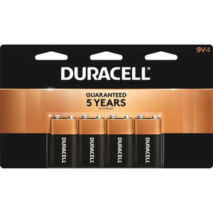 Duracell  Coppertop  9-Volt  Alkaline  Batteries  9 volts Carded  4 pk
