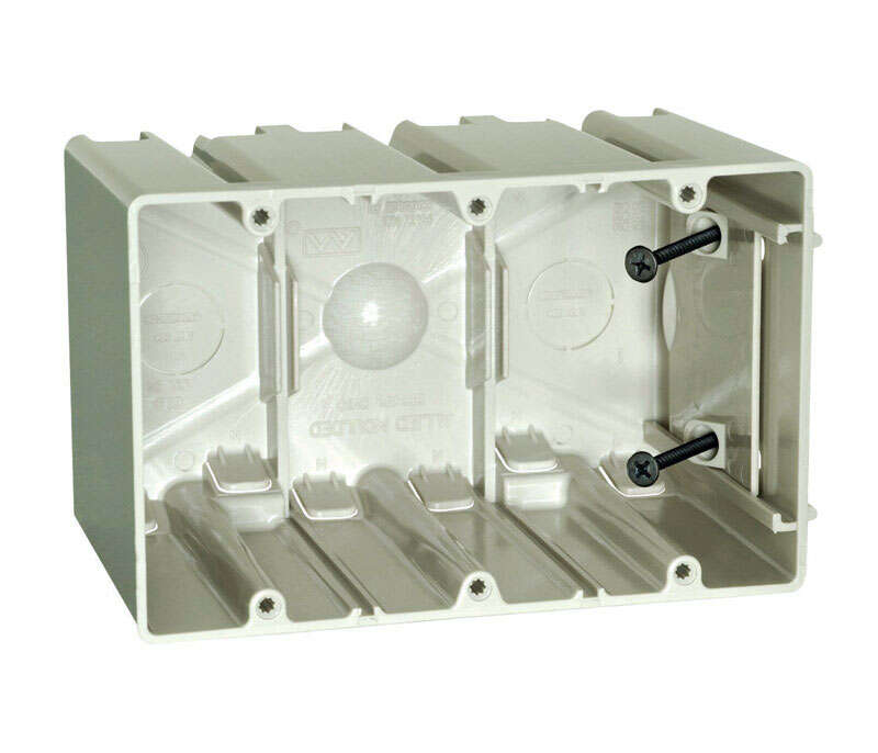 Allied Moulded  SliderBox  3-3/4 in. Rectangle  Polycarbonate  3 gang Outlet Box  Beige
