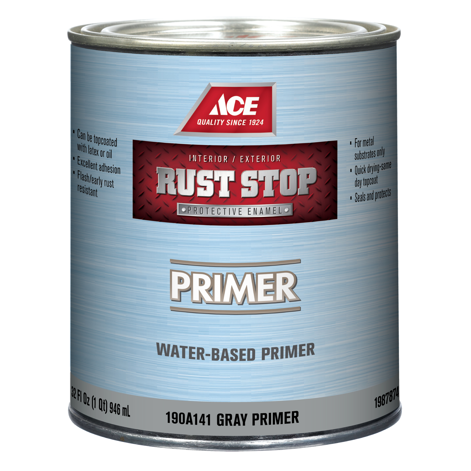 Ace  Rust Stop  Grey  Flat  Primer  1 qt. Acrylic Latex  For Clean Metals