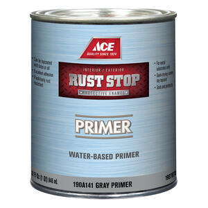 Ace  Rust Stop  Gray  Flat  Acrylic Latex  Primer  1 qt.