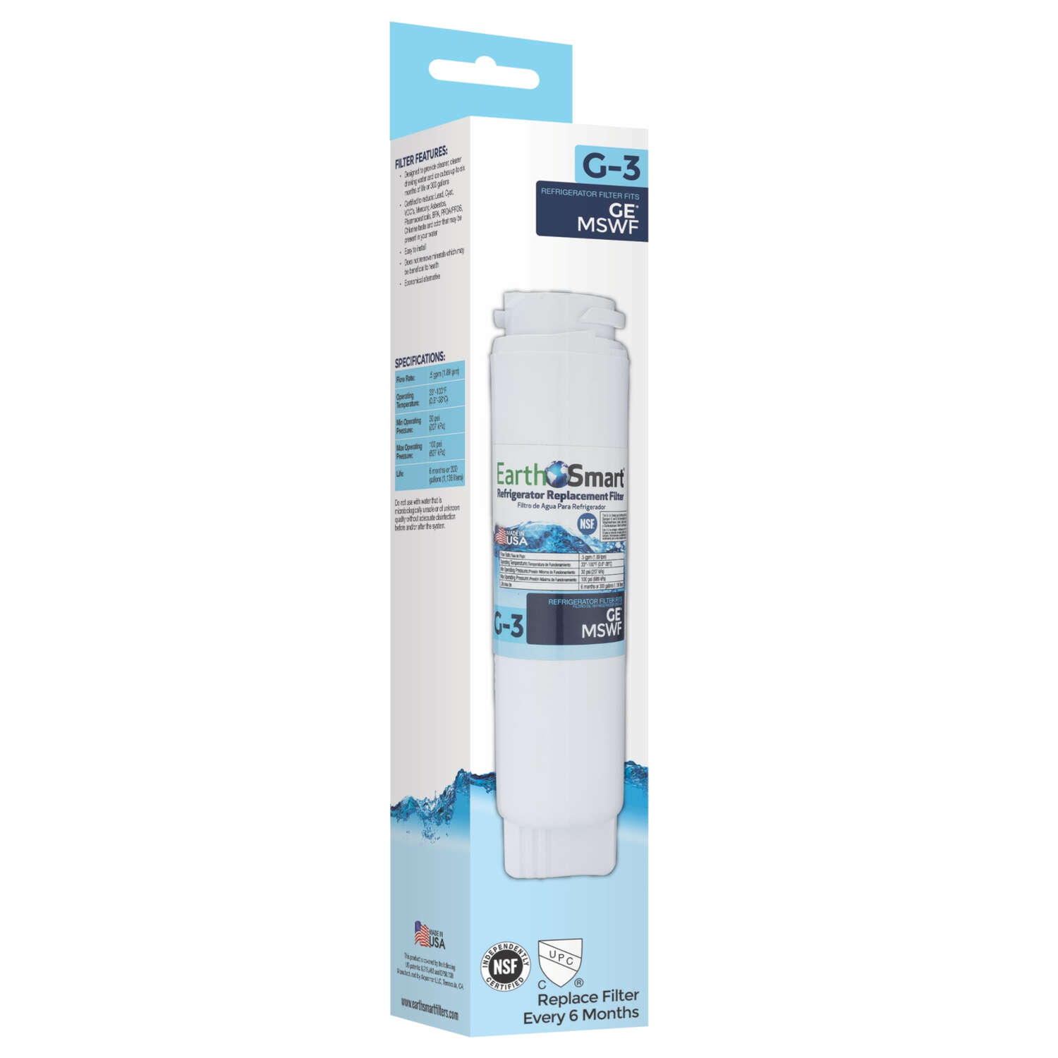 EarthSmart G-3 Refrigerator Replacement Filter For GE MSWF