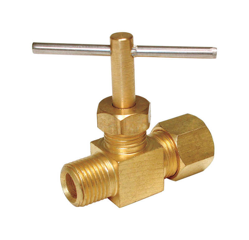 Dial  1/4 in. H x 1/8 in. W Brass  Straight Needle Valve