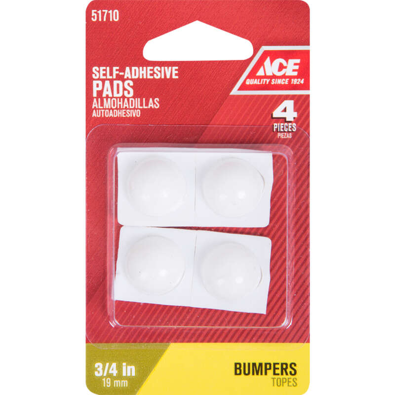 Ace  Vinyl  Self Adhesive Bumper Pads  White  Round  3/4 in. W 4 pk