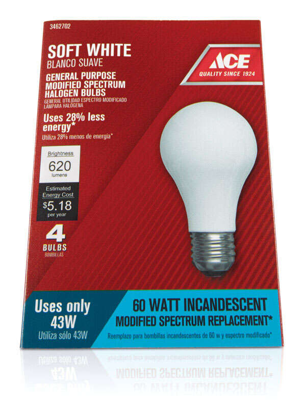 Ace  43 watts A19  Halogen Light Bulb  750 lumens Soft White  4 pk Medium Base (E26)  A-Line
