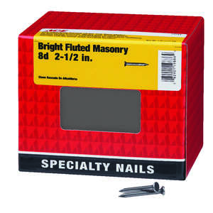 Ace  8D  2-1/2 in. L Masonry  Steel  Nail  Flat  Fluted Shank  1  5 lb.