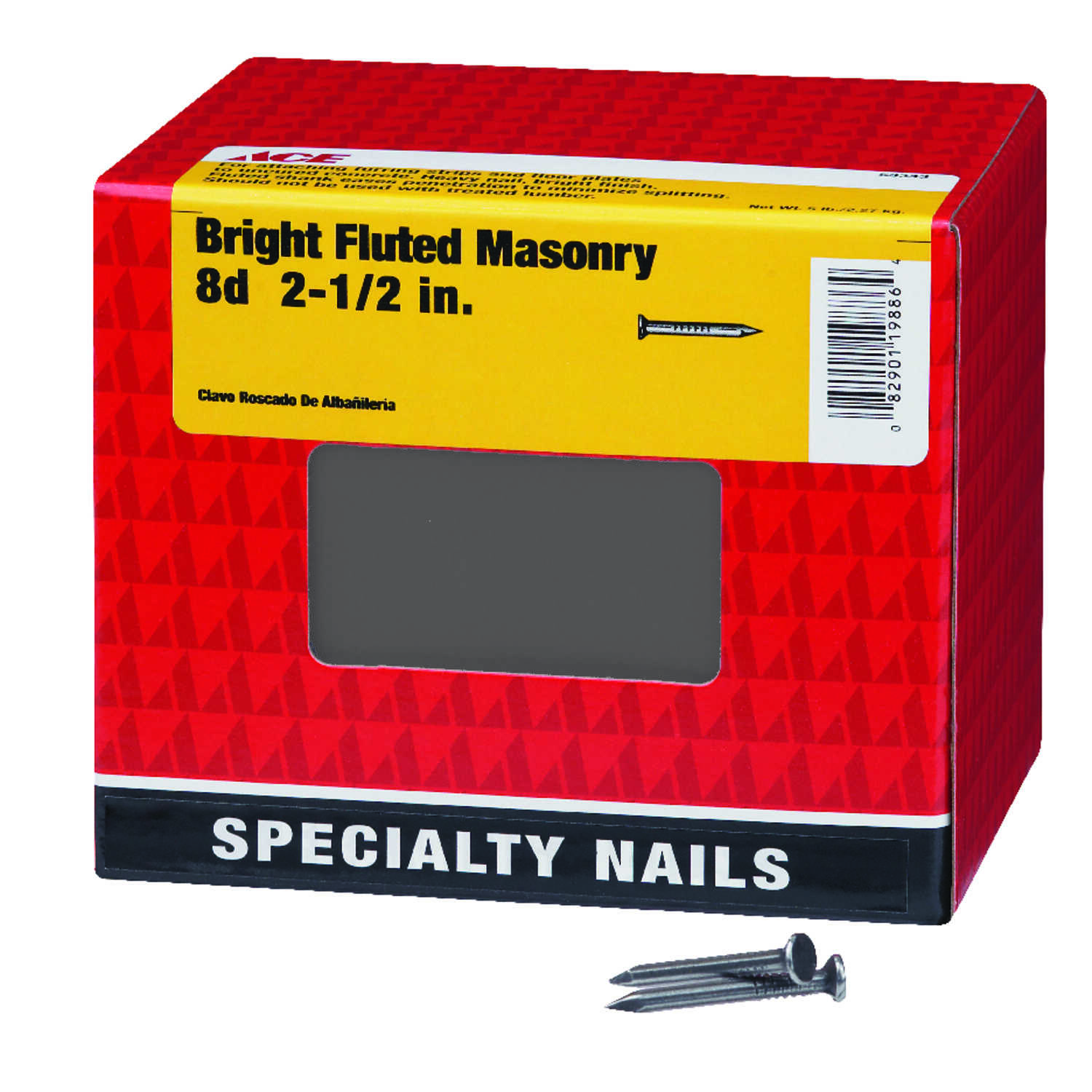 Ace  8D  2-1/2 in. L Masonry  Steel  Nail  Flat Head Fluted Shank  1 pk 5 lb.