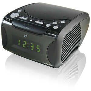 GPX  Digital  Plug-In  7.09 in. AM/FM Clock Radio with CD Player  Black