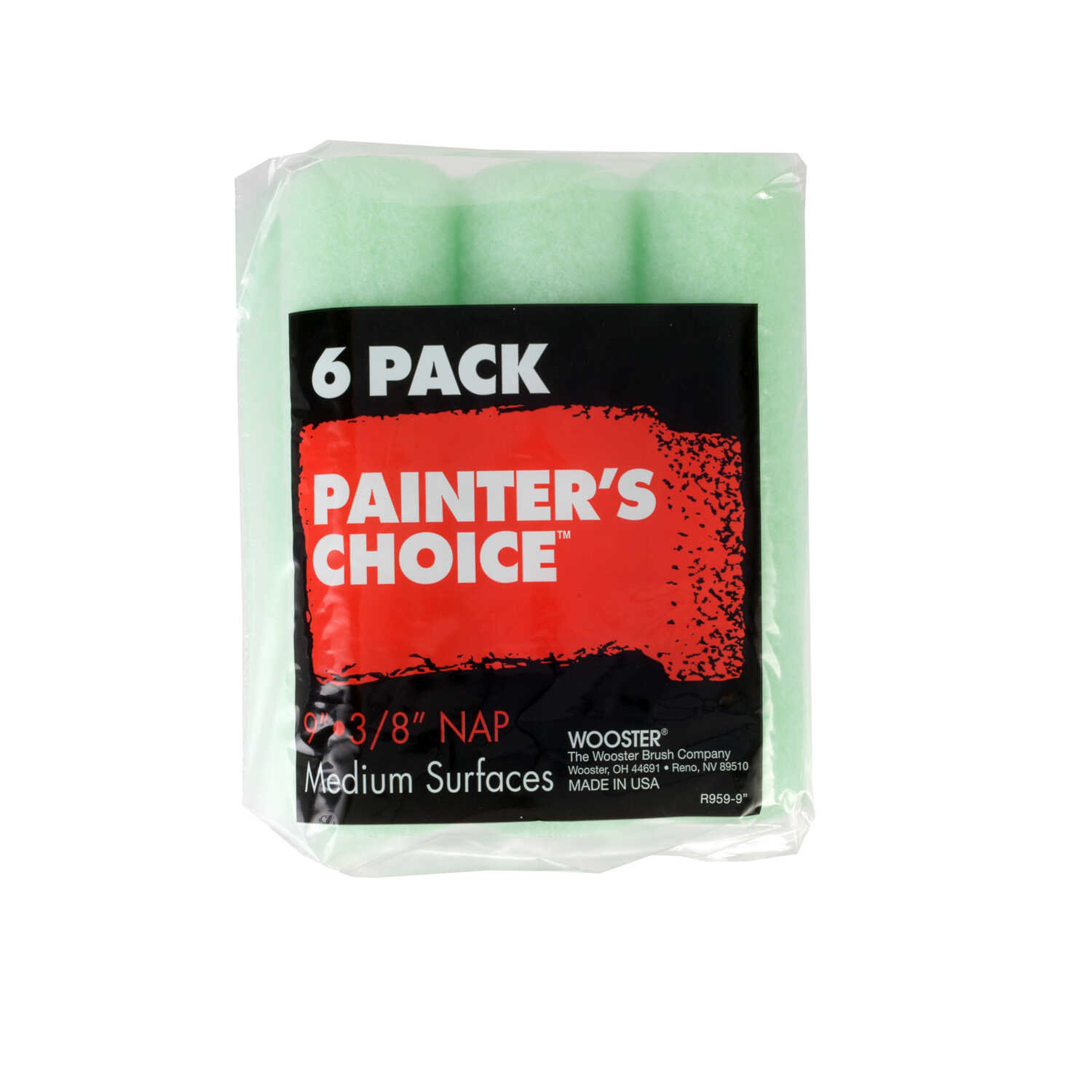 Wooster  Painter's Choice  Fabric  3/8 in.  x 9 in. W 6 pk For Medium Surfaces Paint Roller Cover