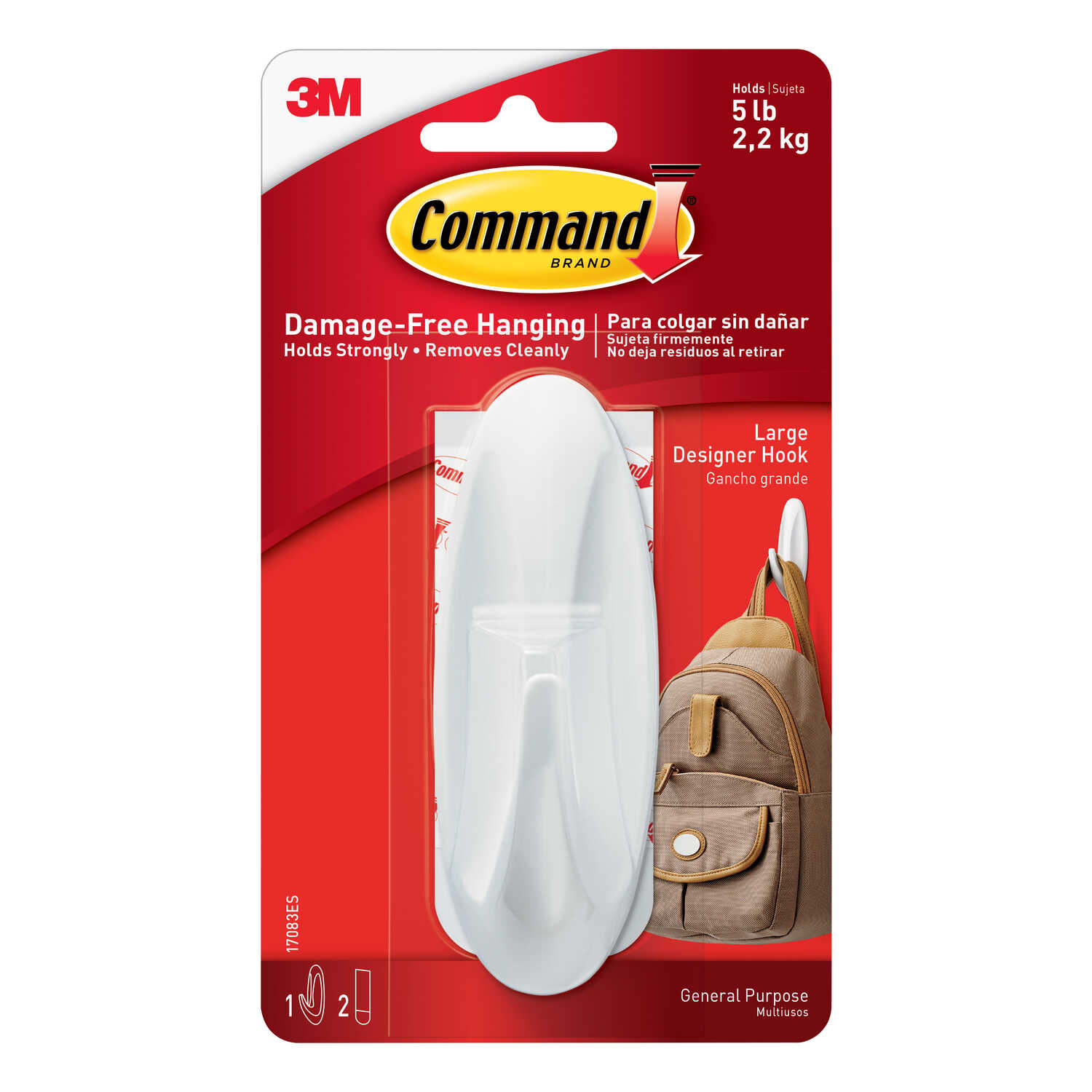 3M  Command  Large  Plastic  4-1/8 in. L 1 pk Hook